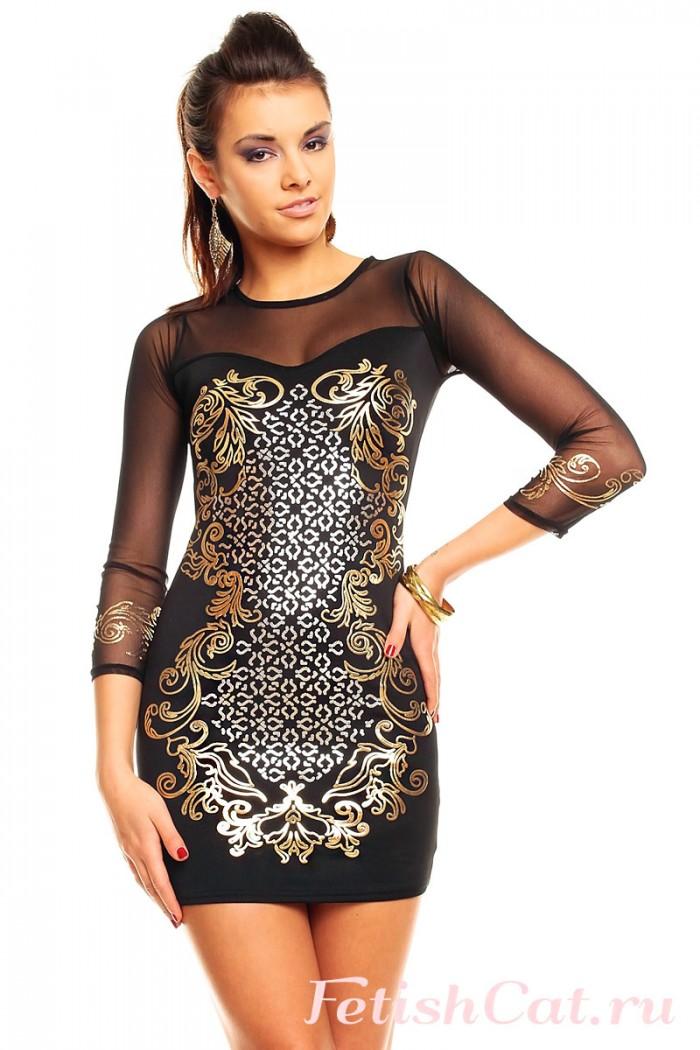 Черные Платья С Золотом Доставка